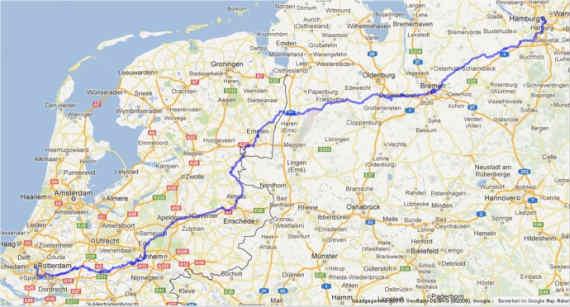 Route_Roparun_2013_Hamburg_Rotterdam